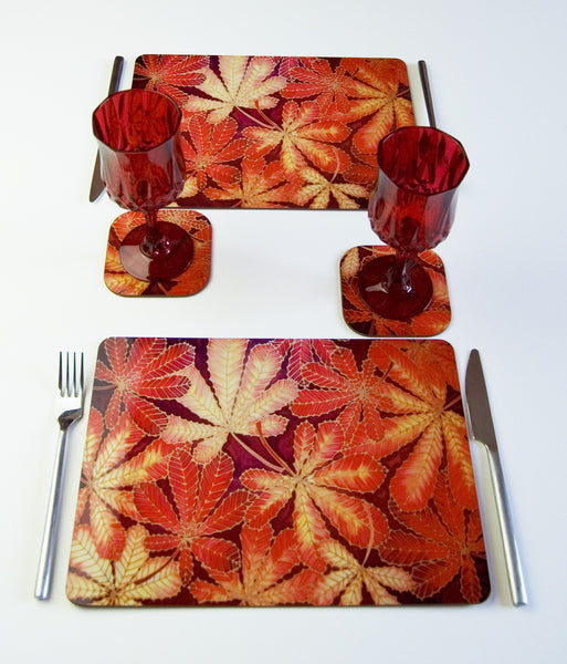 Placemats and Coasters Hard Wearing - Autumnal Leaves Table Mats - Durable Tableware Meikie Designs