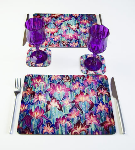 Tableware, Irises Design, in pink, green and purple and, available in place mats, coasters, glass chopping boards / counter savers, serving trays, mugs and mouse mats, round Place mats