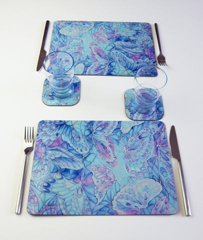 Table Top, Butterflies design, in  blue, green, purple and turquoise turquoise, available in place mats, coasters, glass chopping boards / counter savers, serving trays, mugs and mouse mats