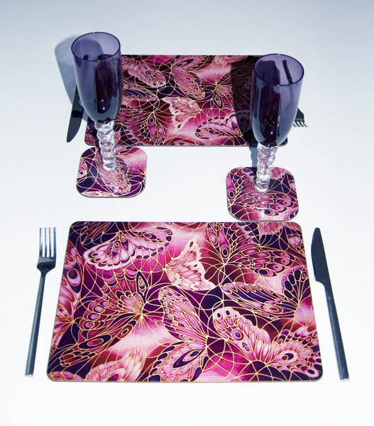 Plum Butterflies Table Mats - Butterfly Coasters Durable Tableware - Plum Glass Chopping Boards