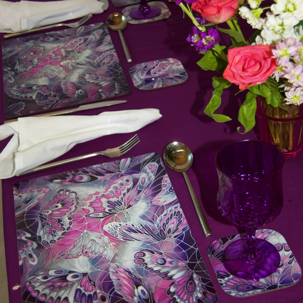 Purple Butterfly Placemats - Durable Tablemats - Hardwearing Tableware - Meikie Designs