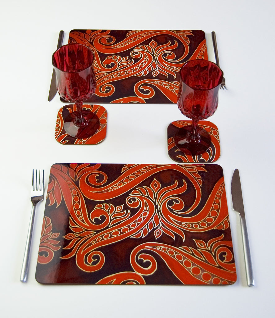 Red Black Placemats - Contemporary Table Mats - Red coasters, glass chopping boards / counter savers, serving trays, mugs and mouse mats