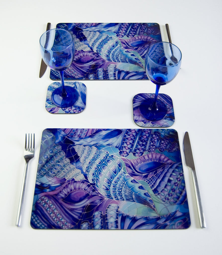 Table Top, Spiral Shells design, in  blue, green, purple and turquoise turquoise, available in place mats, coasters, glass chopping boards / counter savers, serving trays, mugs and mouse mats