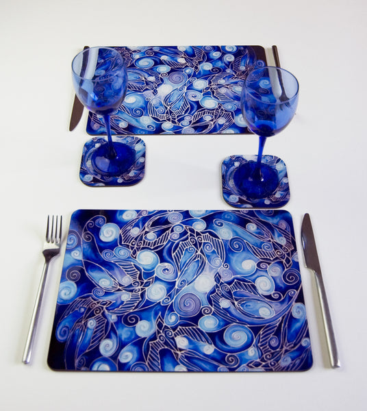 Table Top, Swallows design, in  blue, navy and prussian blue colours, available in place mats, coasters, glass chopping boards / counter savers, serving trays, mugs and mouse mats