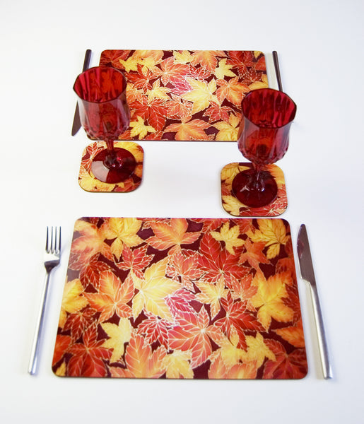 Autumn Leaves Placemats and Coasters - Hard wearing table mats