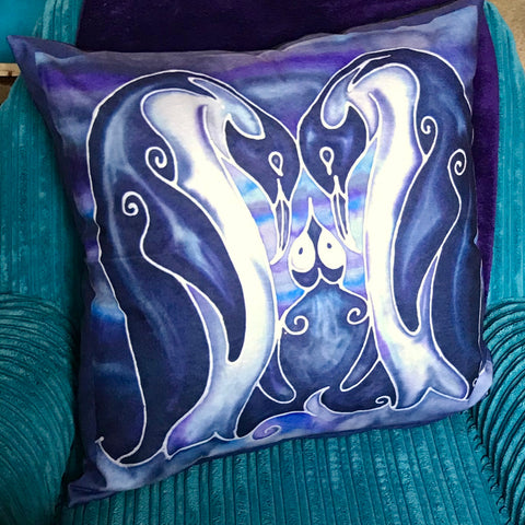 Deep Purple Penguin Velvet Cushion.  Fun Penguin Family  Purple Velvet Cushions. Great Animal Cushion Gift for Animal or Wildlife  Lover