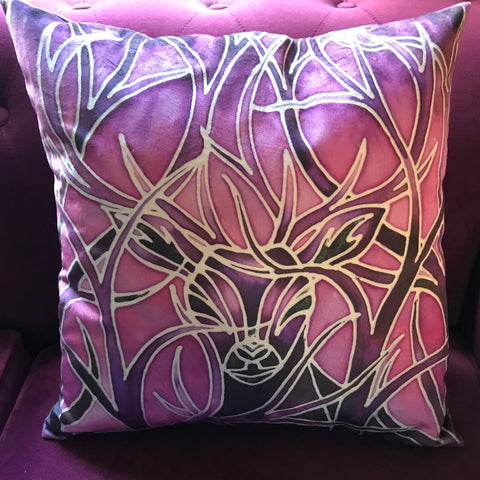 Plum Purple Stag Velvet Cushion.  Beautiful Stag  Purple Velvet Cushions. Great Animal Cushion Gift for Animal or Wildlife  Lover