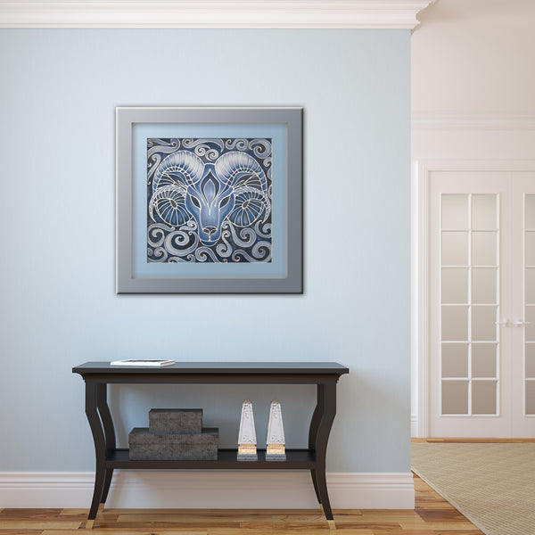 Blue Ram Original Silk Painting - hand painted silk Ram - contemporary blues and greys