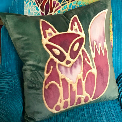 Red Fox Velvet Cushion.  Fun Fox Green Rust Red Velvet Cushions. Great Animal Cushion Gift for Animal or Wildlife  Lover