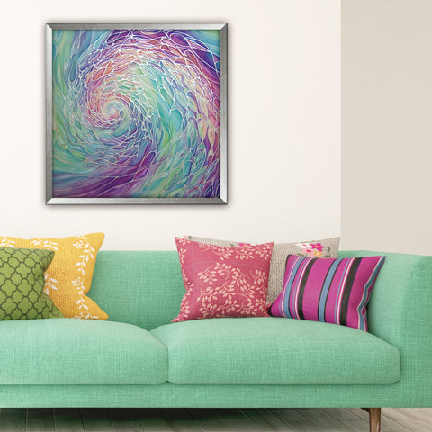Sea Green Purple Pink Shoal Silk Painting - hand painted silk Sparkling  Shoal