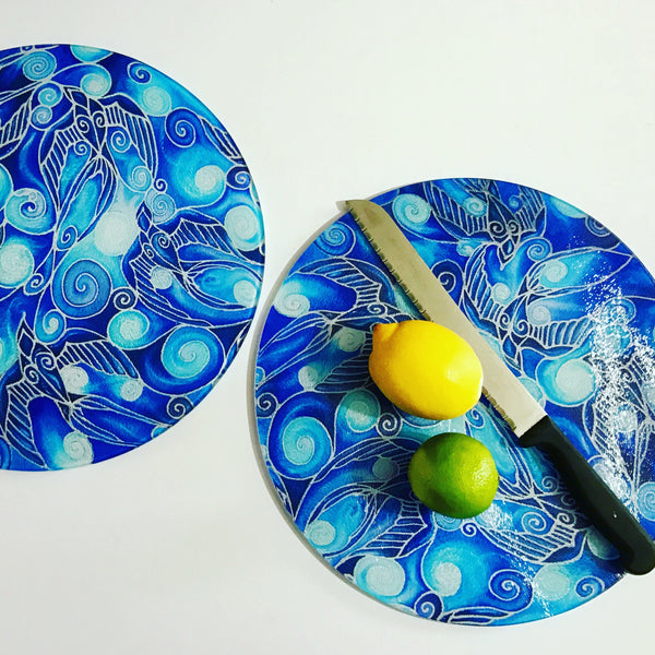 Round Glass chopping boards - Blue Glass Trivets - Round Round Cheese Board