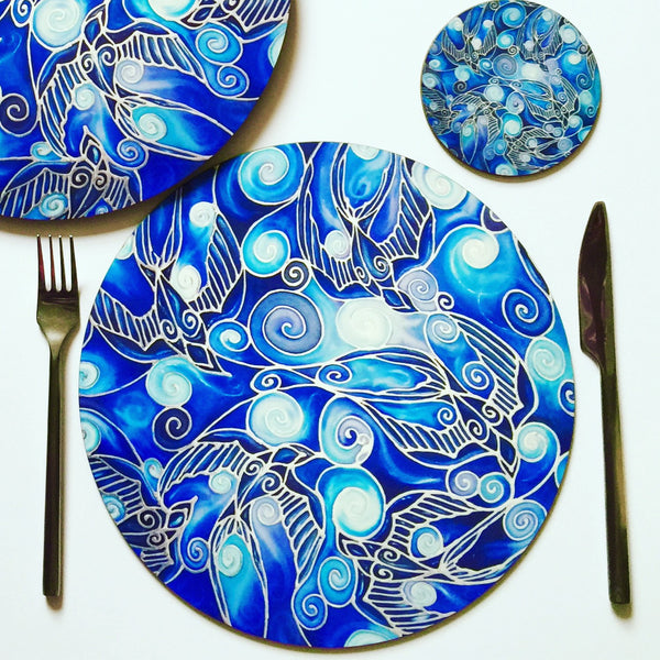 blue round table mat - swallows round place mats and coasters - cobolt blue