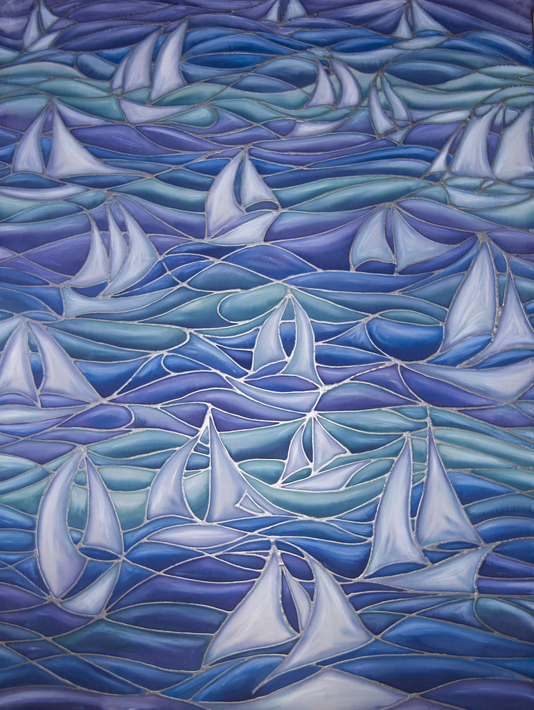 Sail Boats Art Print - White Boats at Sea - Limited Edition Signed Print by Meikie