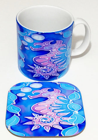 Cute Seahorse Mug and Coaster box set or mug only In Pink Purple and Blue colours