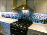 Full width made to order glass splashback featuring stags