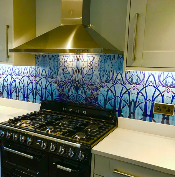 Beautiful Stag Glass Splashback - Blue Glass Splashback - Glass Splashback Made to Order