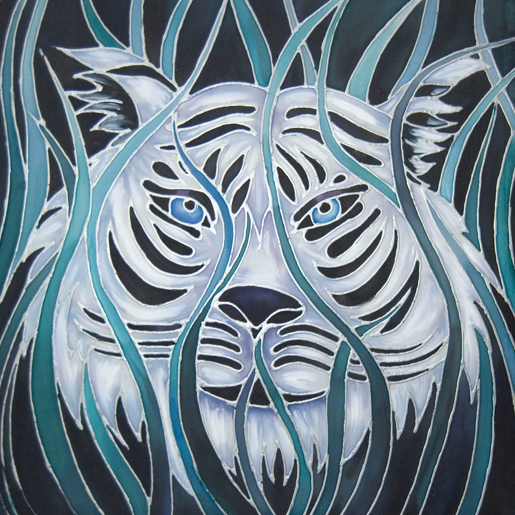 White Tiger Art - Silk painting of White Tiger - Tiger Painting