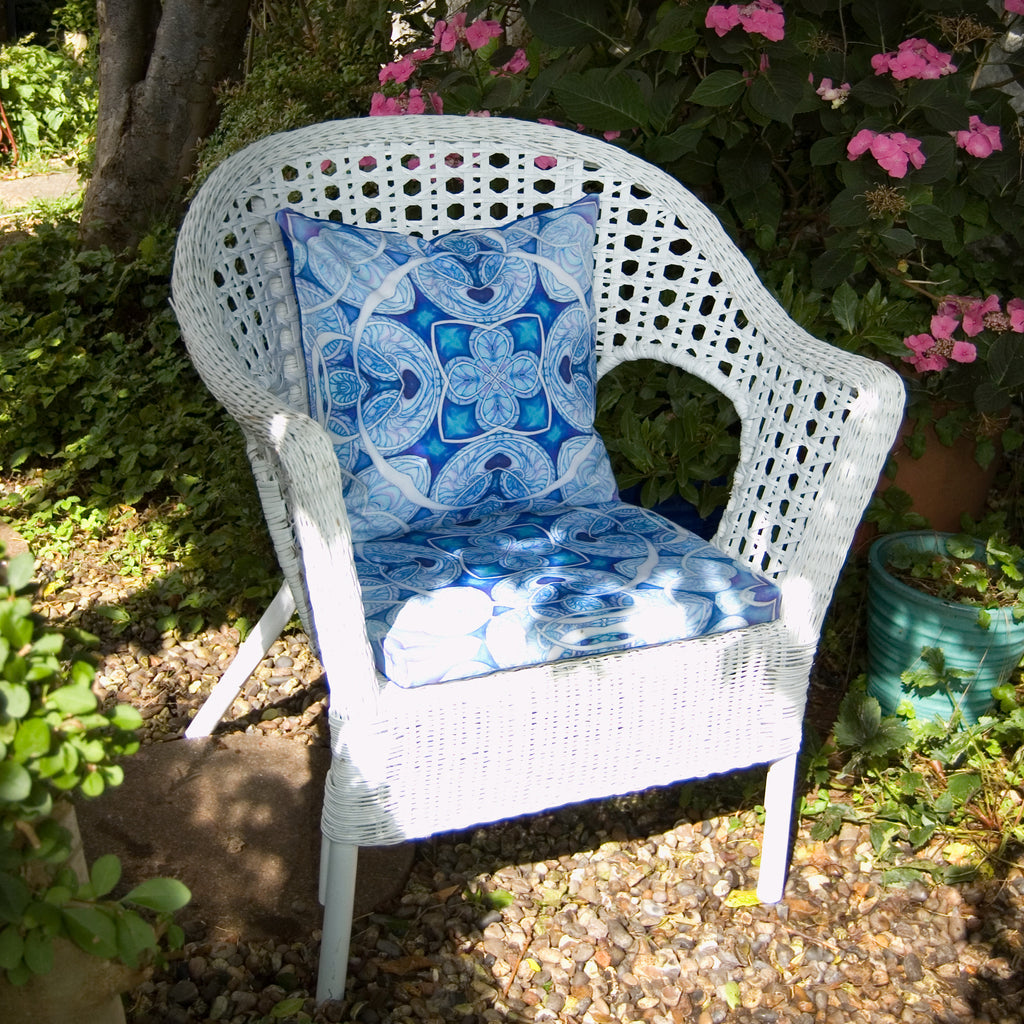 Cool Fresh Garden Arm Chair Seat Pad and Cushion, Shower Proof Exterior Textiles - Bohemian Garden Fabrics - Made to Order for the Garden - Meikie Designs