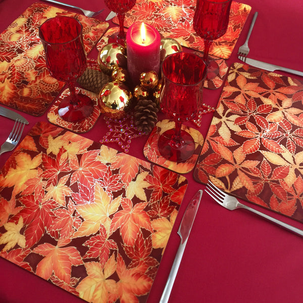 Maple Leaves Placemats & Coasters - red yellow table mats - red glass chopping boards