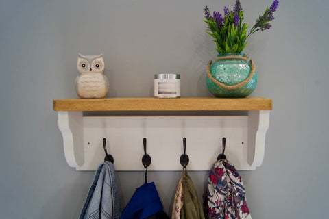 Old White Farmhouse Style Hat / Coat Rack With Shelf & 4 Cast Iron Hooks