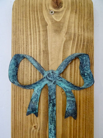 Verdigris Bow Candle Stick Holder