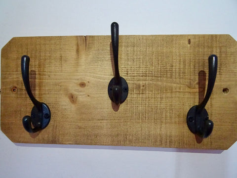 Entrance Hallway, Wash Room Coat Rack / Hat Rack / Towel Holder - 3 Cast Iron Hooks