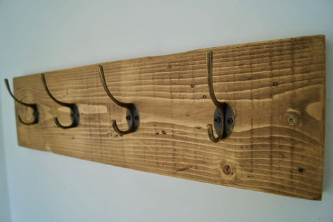 Entrance Hallway Coat Rack / Hat Rack - 4 Rustic Metal Hooks