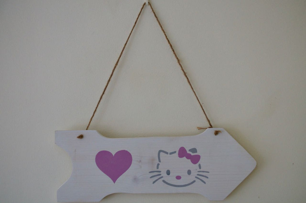Love Heart & Hello Kitty Arrow Wooden Wall Decoration - Annie Sloan Chalk Paint