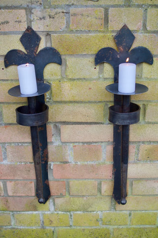Black Garden Gothic Metal Sconces / Candle Holder Pair - 'Fleur De Lyis' Style
