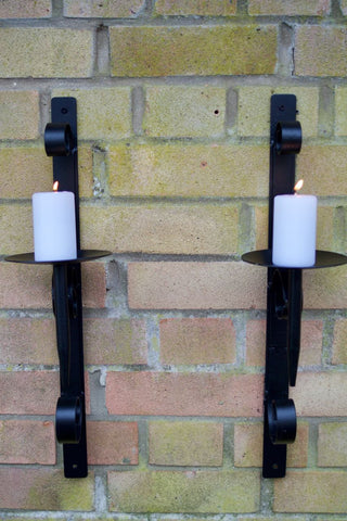 Black Garden Metal Sconces / Candle Holder Pair