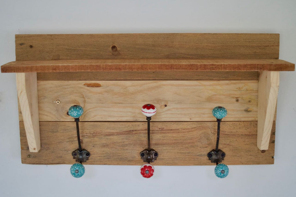 Reclaimed Pallet Shabby Chic Natural Coat Rack With Shelf