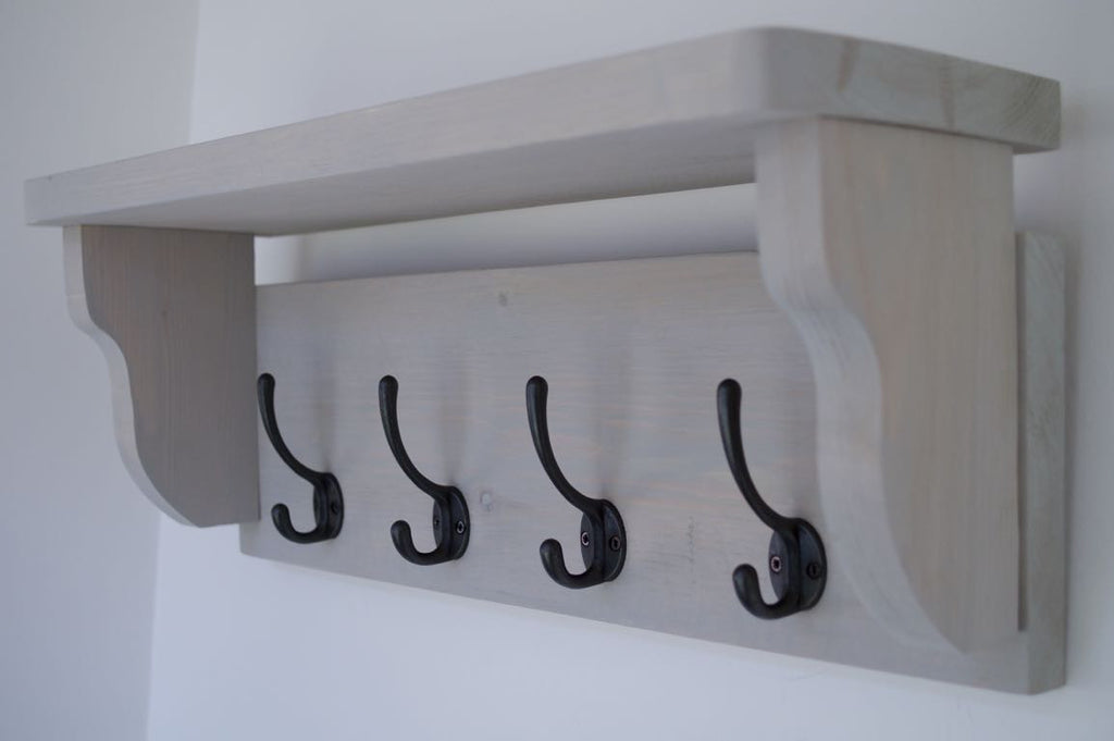 Paris Grey Rustic Hat / Coat Rack With Shelf and 4 Cast Iron Hooks