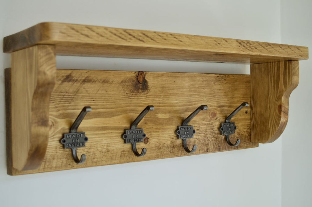 "Heavy Rustic Hat / Coat Rack With Shelf and 4 ""Made In England"" Cast Iron Hooks"