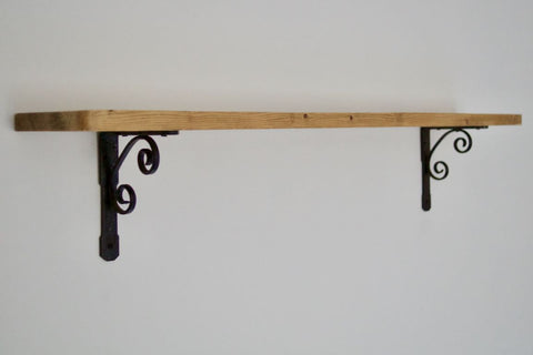 60cm Farmhouse Shelf with Black Brackets