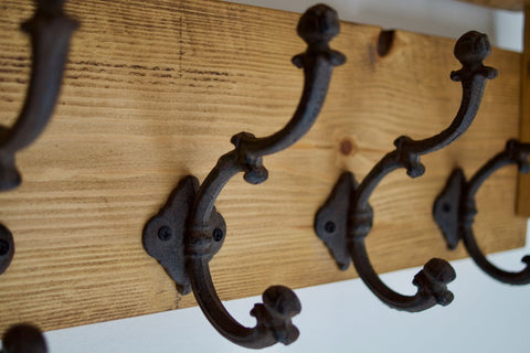 Handmade Farmhouse Style Heavy Rustic Hat/Coat Rack With Shelf And 4 Cast Iron Hooks
