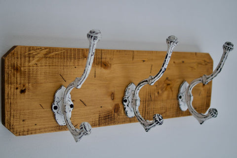 Farmhouse Shabby Chic Coat / Hat Rack - 3 White Heavy Rustic Hooks Entrance Hallway