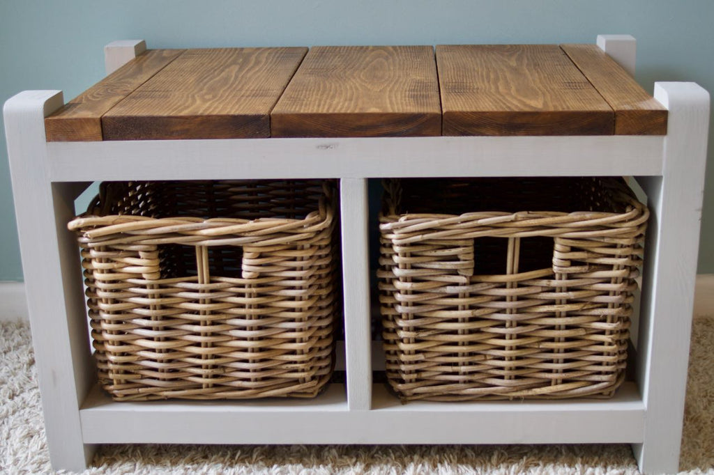 3bd750baeaf0 Shoe Storage Bench / Hallway Unit Farmhouse Style With 2 Wicker Basket –  New Chapter Wood