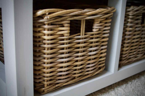 Shoe Storage Bench / Hallway Unit Farmhouse Style With 2 Wicker Baskets