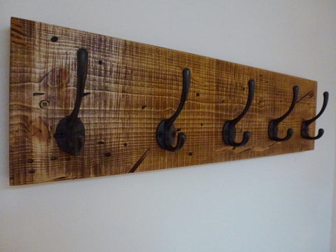 Entrance Hallway Coat Rack / Hat Rack - 5 Cast Iron Hooks