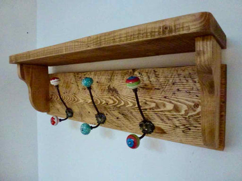 Rustic Hat / Coat Rack Complete With Shelf and 3 ceramic hooks