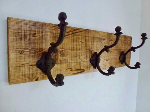 Entrance Hallway Coat Rack / Hat Rack - 3 Heavy Rustic Hangers