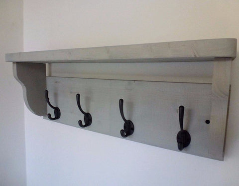 Rustic Hat / Coat Rack Complete With Shelf and 4 Cast Iron Hooks