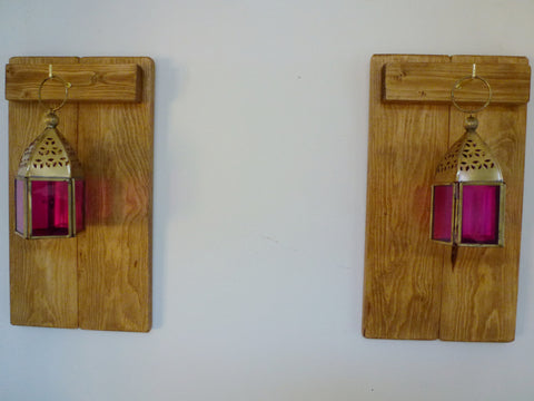 Pair Of Rustic Wooden Sconces With Moroccan Style Lanterns