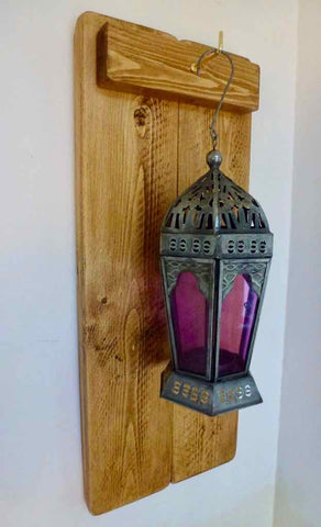 Rustic Wooden Wall Sconce Plus Moroccan Style Lantern