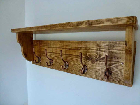 Rustic Hat / Coat Rack With Shelf and 5 Cast Iron Hooks