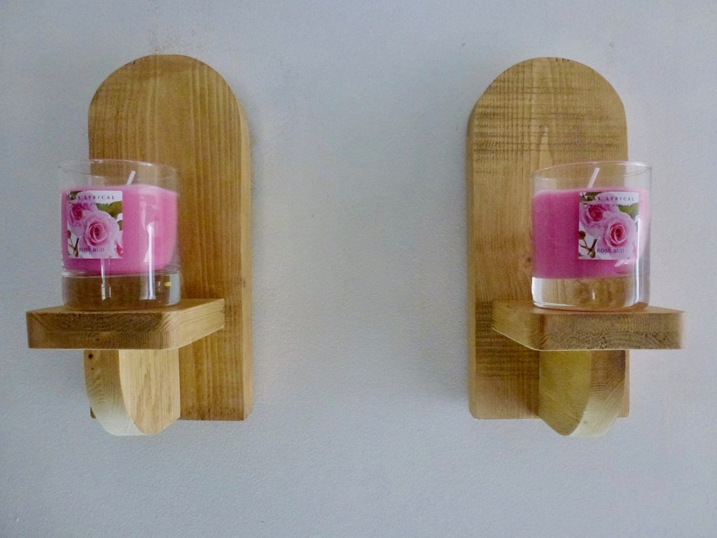 Pair Wooden Sconce's