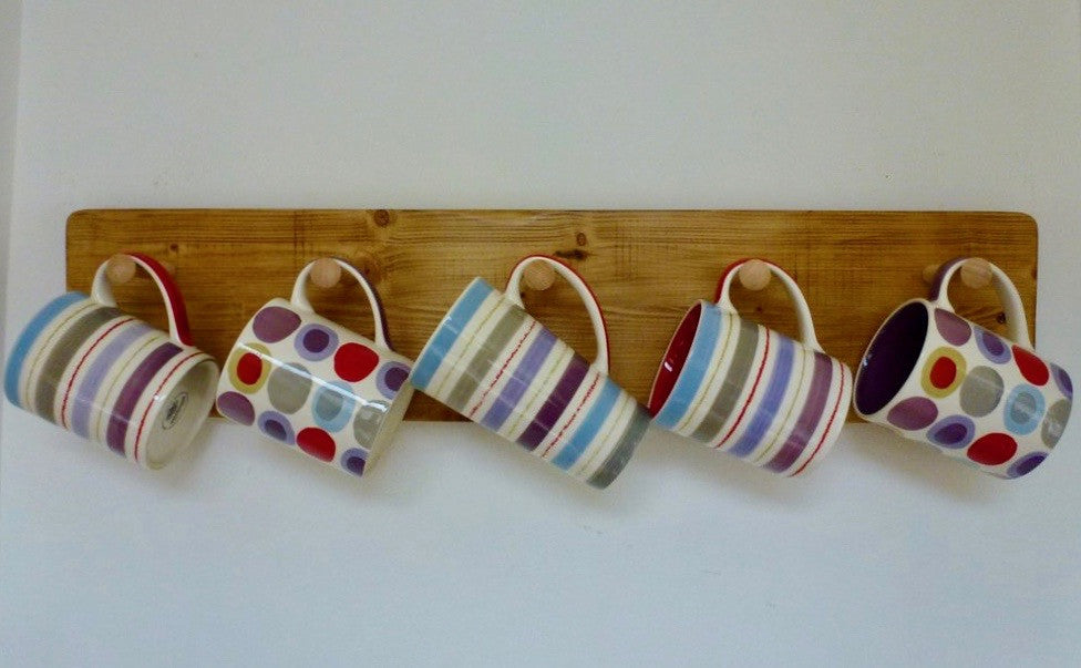 Farmhouse Mug / Cup Rack 5 Pegs