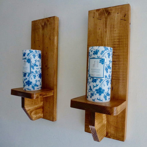 Tall Wooden Sconce's Pair
