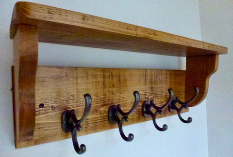 Coat / Hat Rack with 4 Antique Addison Hooks And Shelf