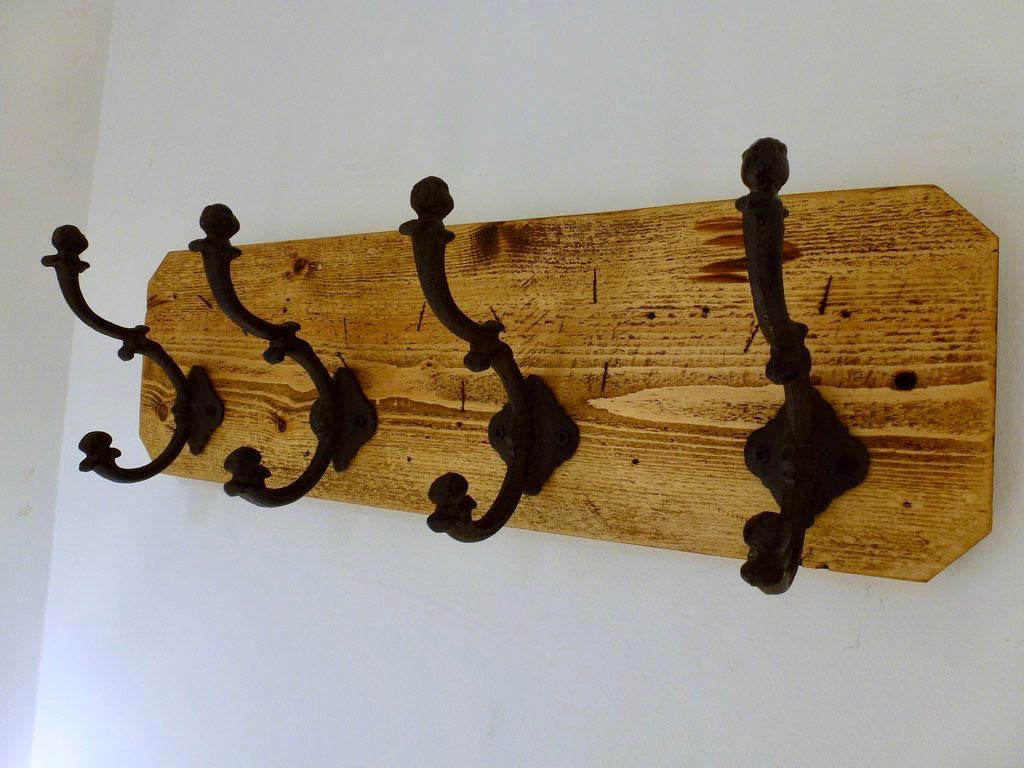 Entrance Hallway Coat Rack / Hat Rack - 4 Heavy Rustic Hangers